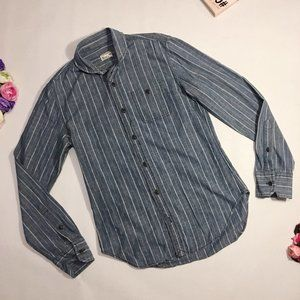 Club Monaco Blouse Blue Striped Buttoned Size XS